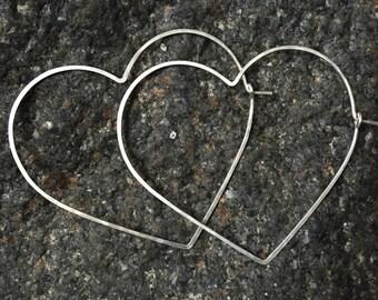 LARGE HEART HOOPS - Big Silver or Gold Heart Hoops - Sterling Silver Heart Hoop Earrings