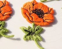1960s Gorgeously Thick Embroidered Vintage Applique, Vintage Embroidery Appliques Wholesale, Orange Flower Embroidery Applique #1332