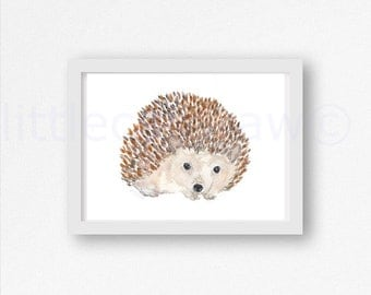 Hedgehog Watercolor Print Cuddly Hedgehog Print Woodland Animal Art Painting Print Hedgehog Lover Gift Wall Art Water color Wall Decor