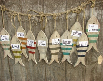 Painted Wood Fish on Stringer/ Coastal Decor/Hanging Wood Fish/Distressed Wood Fish/ Striped Fish/ Nautical Decor/Rustic Hanging Fish/