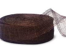 1.5″x25yds CHOCOLATE Sinamay Mesh Ribbon - 100% Natural