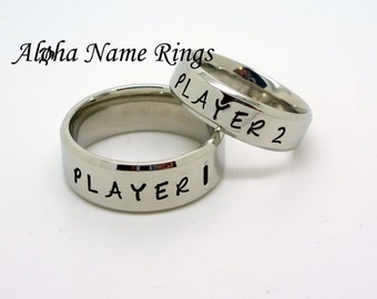 PLAYER 1 <> PLAYER 2 <> Set of 2 <> Video Games Jewelry <> Hand Stamped Stainless Steel Rings <> ANR-R-M0006