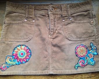 Sale Upcycled corduroy mandala skirt size 1
