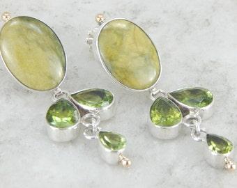 Earthy Lime Green Jasper and Peridot Drop Earrings MAFC9F-R