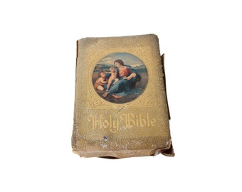 Antique Marian Edition Gold Hardcover Holy Bible