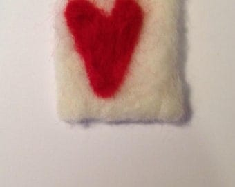 Love heart needle felted blank valentines card