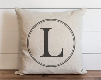 Round Monogram 20 x 20 Pillow Cover // Typography // Housewarming Gift // Wedding  // Throw Pillow // Cushion Cover // Accent Pillow