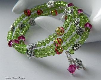 Fuchsia and Green Flower Garden Memory Wire Swarovski Crystal Wrap Bracelet
