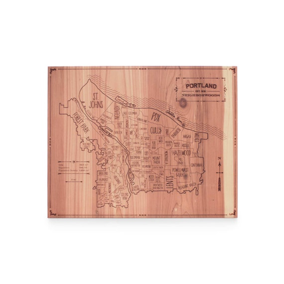 Portland Wood City Map Laser Engraved Includes Sawtooth