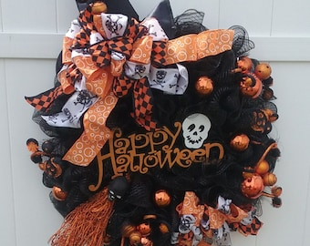 Halloween Wreath, Witch Hat & Legs, Halloween Witch, WITCHLY WAYS Deco Mesh Witch Hat, Legs and Broom Front Door Wreath