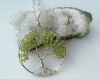 Peridot Gemstone Tree Of Life Pendant Necklace