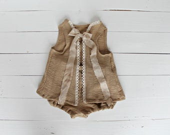 Vintage Style Sitter Set 6-12 Months Photo Prop Baby Girl Sitter Romper Set Photography Props Shabby Chic Props Brown Neutral Sitter Set