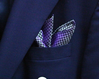 SILK Pocket Square with Houndstooth in Regency Purple and Silver