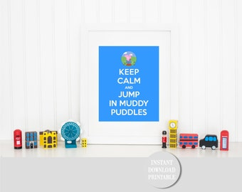 "KEEP CALM GEORGE Pig Jumping Muddy Puddles Printable 8x10"" Baby Children Home Wall Art Print Peppa Pig Home Decor Party Instant Download"
