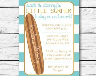 Baby on Board Baby Shower Invitation. Surfer Baby Shower Invitation. Surf Baby Shower Invite- Printable/Digital File