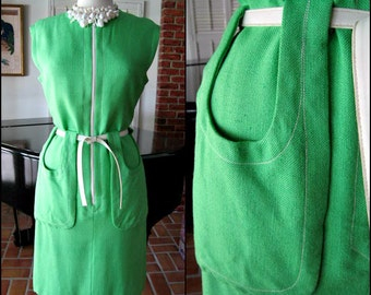 MOD green dress / 60s lime green dress / vintage 60s green dress / fits S to M