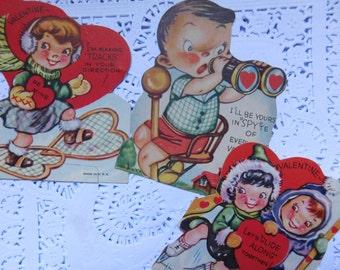Vintage Valentine's Day Cards Set of Three