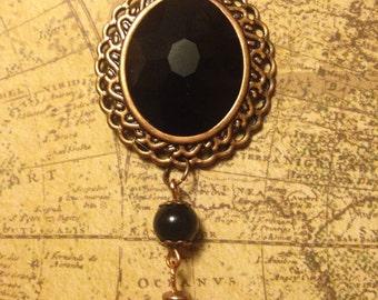 Obsidian Night Tasseled Filigree Necklace