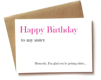 Funny birthday card for sister, little sister or big sister birthday