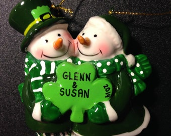 Irish Snow Couple Personalized Ornament