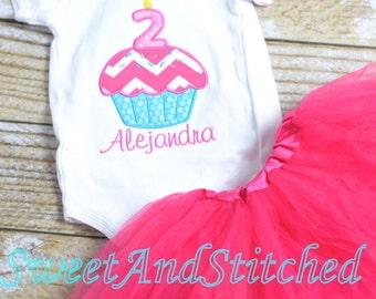 Pink Cupcake Birthday Outfit - Cupcake Birthday Shirt - Girl's 1st 2nd 3rd 4th 5th birthday cupcake shirt - birthday tutu outfit!