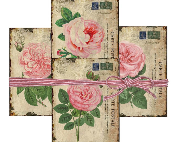 Shabby Digital Rose Cards, Printable French Roses, Digital Carte Postale Collage Sheet Download