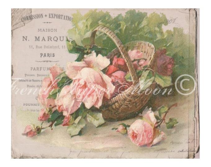 Digital French  Shabby Chic Roses, French Perfume Ephemera, Basket of Roses, Digital Printable Sheet