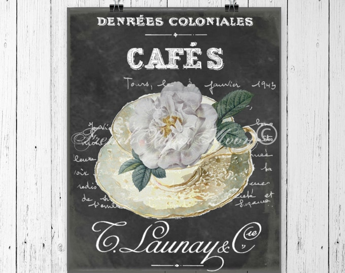 Shabby Vintage Teacup with Roses, French Typography, Pillow Transfer Graphic, Instant Download