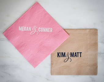 custom personalized napkins. custom napkins with names personalized bride and groom name printed wedding