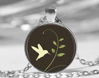 Hummingbird Photo Pendant Necklace or Key Chain Spring Jewelry glass pendant Springtime Bird