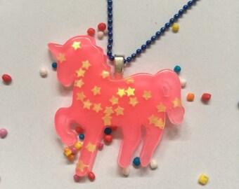 Unicorn necklace - unicorn pendant - unicorn jewellery - unicorn jewelry - kawaii kitsch - Resin