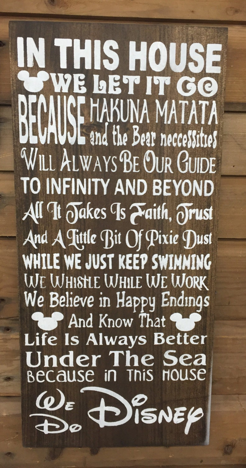 Disney House Rules Rustic Sign Nursery Sign Baby Shower