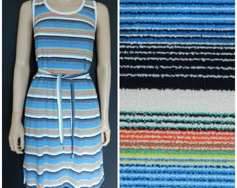 Vintage 70's stripy tennis summer dress blue yellow green red u.k. 12 M
