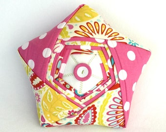 Origami Star Pillow – One of a Kind Handmade Star Plush – Pink Polka Dot and Paisley Reclaimed Fabric Pillow