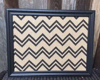 "Chevron Burlap Magnetic Board - 18"" x 24"" - Modern Magnetic Wall Organizer - Framed Magnetic Memo Message Board - Magnetic Office Organizer"