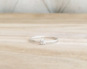 Tiny hammered solitaire ring, thin hammered band, cz ring, sterling silver ring, sterling silver, rings, solitaire, engagement ring