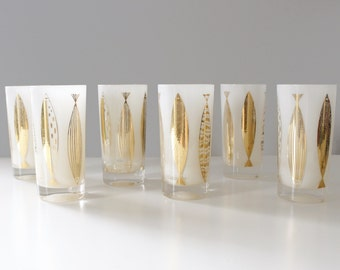 6 Fred Press Fish Glasses White & Gold Mid Century Barware