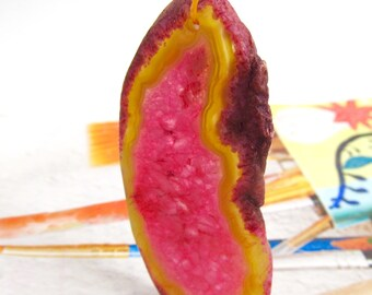 Geode Slice Pendant. Freeform Pendant. Pink and Brown Druzy Agate Focal Pendant. Freeform Druzy Slice Pendant.