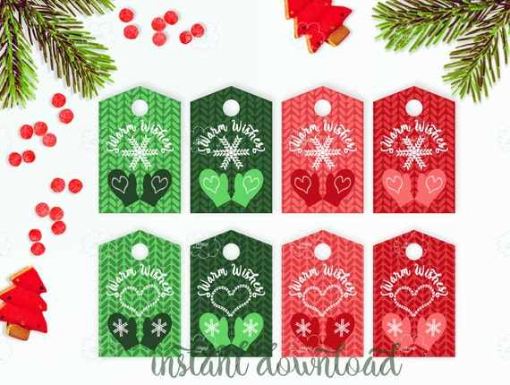 Printable X-mas tags for knitted gifts, Warm Wishes tag, Christmas presents tags, winter mittens tag in red green, editable