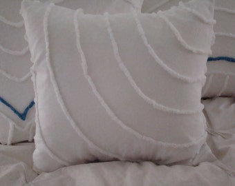 "REDUCED PRICE-White  Curved Striped Chenille Pillow Cover for 16"" Pillow Insert Was 25.00 Now 15.00"