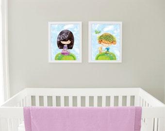 Baby gift girl, girl nursery art, nursery prints, art for girls room, nursery art set