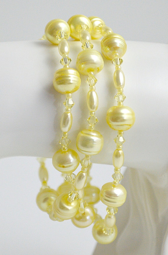 Canary Yellow Freshwater Pearl Swarovski Crystal and Glass Bead Bracelet Plus Matching Necklace and Earrings