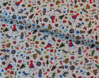 Timeless Treasures Little Red Riding Hood on cream cotton woven fabric - UK seller