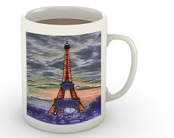 Eiffel Tower at Sunset Painting- Ounce Ceramic Mug By Doggylips  - 2 sizes