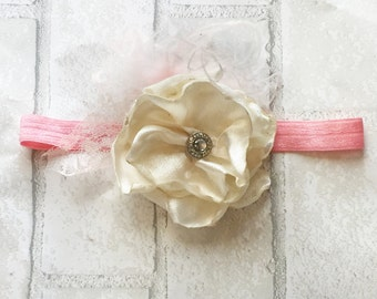 Ivory and Bubble Gum Pink Headband