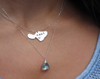 Maui Necklace, Hawaii Necklace, State Necklace