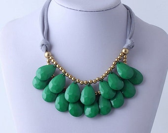 Anthropologie Green Necklace, Bib Necklace, Green Statement Necklace, Teardrop Necklace, Statement Necklace