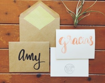 hand-lettered watercolor gracias card