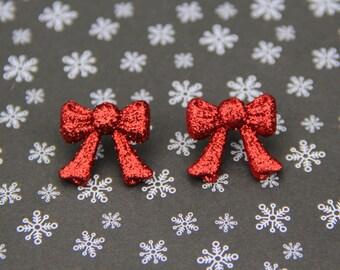 Christmas Red Ribbon Stud Earrings!