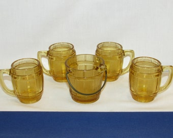 Amber Gold MINI BARREL MUGS Set of 4 with Matching Barrel Ashtray Shot Glasses